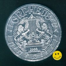 2019 Krewe Of Orpheus Thick 8 gauge 2 1/2 inch Silver Alum. Mardi Gras Doubloon