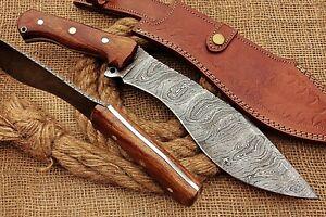 HUNTEX Custom Handmade Damascus Blade, Rosewood 380mm Long Full-Tang Kukri Knife