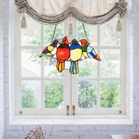 """14.5"""" Stained Glass Birds Window Panel Tiffany Hanging SunCatcher w/Chain"""