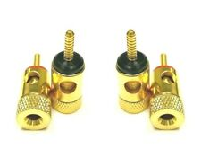 4X Gold SHORT threaded Speaker Wire Connector Banana Plug Jack Open End Home Car