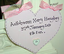 Personalised Heart Sign ~ New Baby Girl Christening Gift LAURA ASHLEY PINK PAINT
