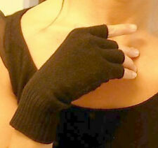 Black Unisex 100% Cashmere fingerless gloves half finger
