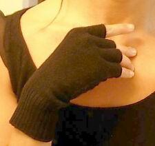 Black Unisex 100% Cashmere fingerless gloves half finger