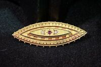 """GEORGIAN 15K Gold MOURNING BROOCH PENDANT 1 7/8"""" Ruby Seed Pearls Hallmarked"""