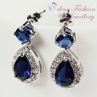 18K White Gold Plated Made With Swarovski Crystal Delicate Teardrop Earrings
