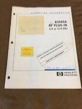 Hewlett Packard HP 83545A RF Plug-In  5.9 to 12.4 GHz Manual