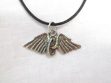 NEW IN MEMORY OF - FALLEN RIDER BIKE TIRE & ANGEL WINGS PEWTER PENDANT NECKLACE
