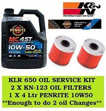 KLR 650 OIL SERVICE KIT 2 X KN-123 OIL FILTER + 4 LTR PENRITE 10W50 SEMI SYN