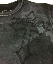 Affliction T-Shirt Size Large Graphic Tee Skull Cross  Faded Tie Dyed Distressed
