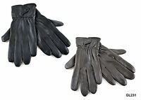 Ladies Soft Leather Fleece Lined Warm Winter Gloves with Button Fastener S/M M/L