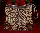 DOLCE & GABBANA CANVAS/LEATHER LEOPARD PRINT HANDBAG