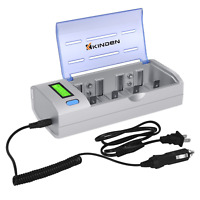 Kinden Batteries Charger with Car Charging Port for AA AAA C D 9V Ni-MH Ni-CD