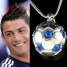 w Swarovski Crystal ~Blue 3D Football Soccer Ball~ Pendant Charm Necklace Unisex