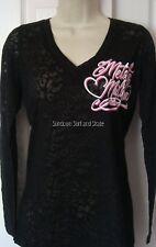 NWT WOMENS METAL MULISHA HETTIE L/S BLACK BURNOUT KNIT TOP SHIRT TEE L LARGE