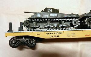 K-Line K-6994 O Die Cast Flat Car UP 6994 w/2 Solido DC Green Tanks France T194