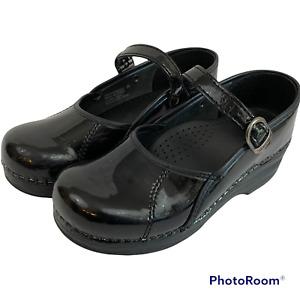 DANSKO MARCELLE Mary Jane Clogs Black Patent Leather - Women's Size EU 36 = US 6