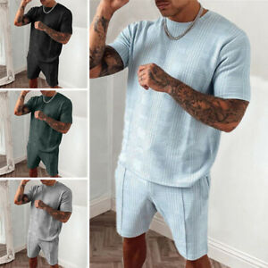 Mens Short Sleeve Tops+Shorts Tracksuit Set Casual Solid Sportswear Pajamas Suit