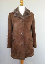Brown Shearling Sheepskin Womens Coat Sherpa Warm UK 12/14 VTG Winter Del Boy