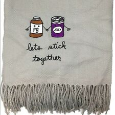 Macys TwelveNYC Decorative Throw Blanket Lets Stick Together Peanut Butter Jelly