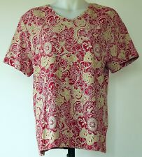 Croft & Barrow Red and Tan Floral Medallion Print V-Neck S/S T-Shirt Top XL