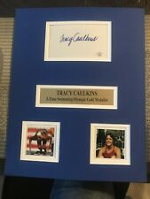 TRACY CAULKINS 3- TIME SWIMMING OLYMPIC GOLD MEDALIST AUTOGRAPH CARD P.A.A.S.COA