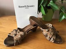 Russell & Bromley taupe suede leather studed slip on mule UK 5 EU 38 RRP £75.99