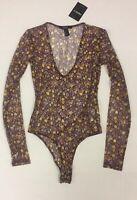Forever 21 Sheer Mesh Long Sleeve Bodysuit Ditsy Floral Flower Print S NEW