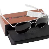 AO American Optical Aviator Matte Chrome Frames 52 mm Sunglasses Gray Lens
