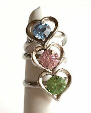 Silver Heart Ring Lot of 3 Adjustable Pink Blue Green Size 6 7 8 Spring Colors
