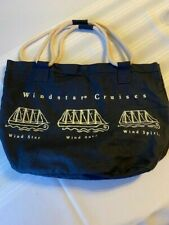 WINDSTAR CRUISES-Beach Bag/Tote-Blue/White-Rope Strap Handle 3 Ships Front/Back