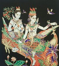 Silk Picture Home Wall Decor Thai Art Painting Poster Print Asian Style Kinnaree