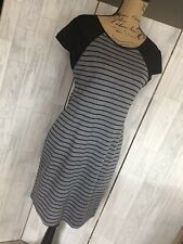 Lavand Grey And Black Stripe Stretchy Fitted Dress Sz Large VGC