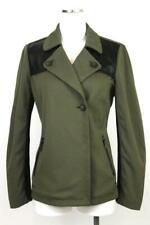 womens green LOGO LORI GOLDSTEIN faux leather double-breasted pea coat jacket S