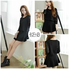 2 Pieces Party Casual Women black dress mini skirt lace long sleeves set