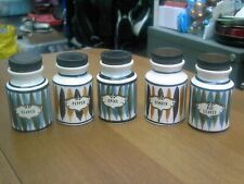 5 X Vintage / Retro Jersey Pottery Spice Jars In Good Condition Free UK P&P