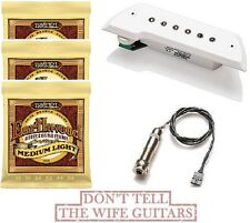 EMG ACS White Acoustic Active Soundhole Pickup ( 3 ERNIE BALL #2003 STRING SETS)