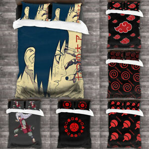 NARUTO0 Akatsuki 3PCS Duvet Cover Set Anime Bedding Comforter Cover Pillowcases