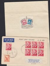 1950 KGVI 2 1/2d Red FDC Australia Cover 1'6 Rate ANPEX Cinderella in Letter USA