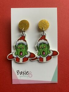 Christmas Earrings, The Grinch Style Surprised Face, Surgical Stud, Acrylic