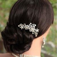 Bridal Pearl Hair Crystal Clip Comb Pin Wedding Flower Rhinestone Diamante Women