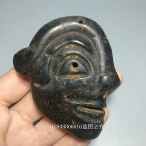 China Red mountain culture collection meteorite carving  two-sided people face