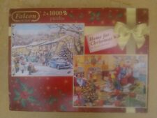 """Falcon  2 X 1000 piece puzzles  """"Home for Christmas""""  by Trevor Mitchell."""