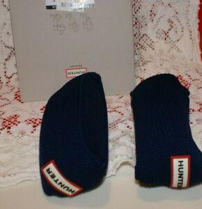 NIB Hunter Original Tall NAVY Cuff Boot Socks MEDIUM 7-9 RED LOGO