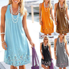 US Women's Sleeveless Flowy Midi Summer Beach A Line Floral Tank Dress Plus Size