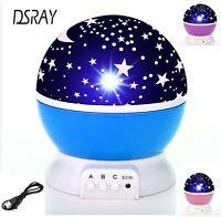 Lampara de Bebe o Niños para Dormitorio Proyector Giratorio Cielo Estrellado LED