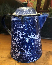 ANTIQUE COBALT BLUE & WHITE SWIRL GRANITEWARE Large COFFEE POT Boiler Handle