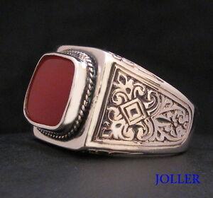 MEN'S VINTAGE SIGNET RING CARNELIAN STERLING SILVER 925 BY JOLLER JEWELS