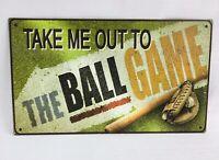 """Take Me Out To The Ball Game Baseball Tin Wall Sign Home Decor 13""""x 7.75"""" EUC"""