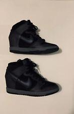 Nike Women's Dunk Sky Hi Wedge Shoes - Size 11 -Black/ Gray Metallic