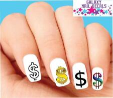 Waterslide Nail Decals - Set of 20 Dollar Signs Money Assorted